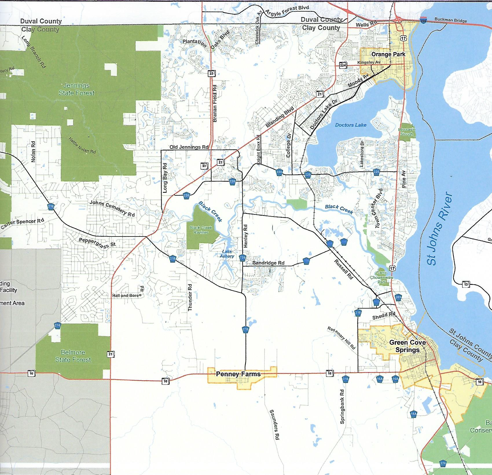 Clay County Area Map