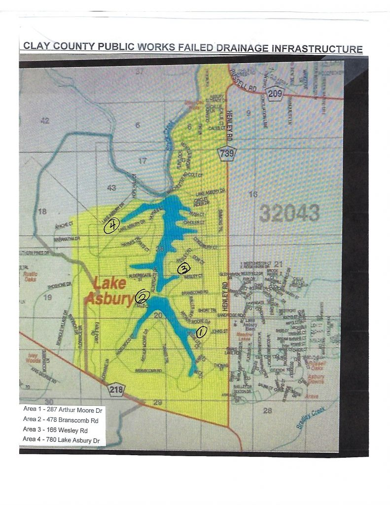 Map Showing Lake Asbury Area with numbers 1-4 denoted where the lake has failed drainage. This map corresponds to the Lake Asbury Drainage Report